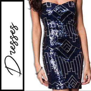 Dresses & Skirts - Short Strapless Sweetheart Sequin Dress